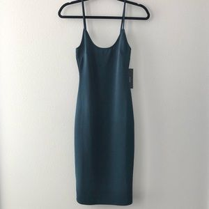 NWT Lulus Forest Green Midi Bodycon Dress, Size S